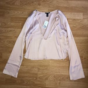 Forever 21 tie front satin blouse